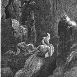 Engraving of a man jumping after a woman (elf) into a precipice. From the Icelandic legend of Hildur, Queen of the Elves. Artist: Johann Baptist Zurecker, 1815-1876. Public Domain.