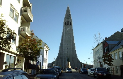 The Hallgrimskirkja. This church dominates the skyline in Reykjavik.