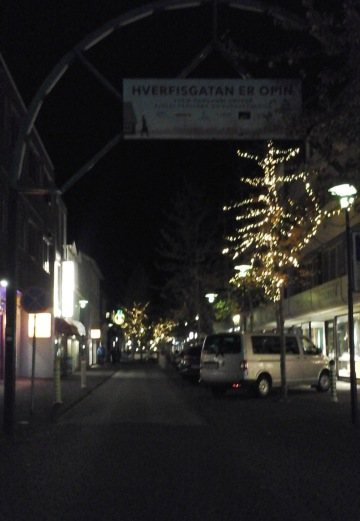 Main street of Reykjavik at night.
