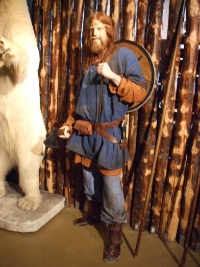 Viking and polar bear in Saga Museum. Polar bears visit Iceland occasionally - generally along the north coast.