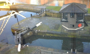 The lock connecting the Leeds-Liverpool Canal and the Aire-Calder navigation system.