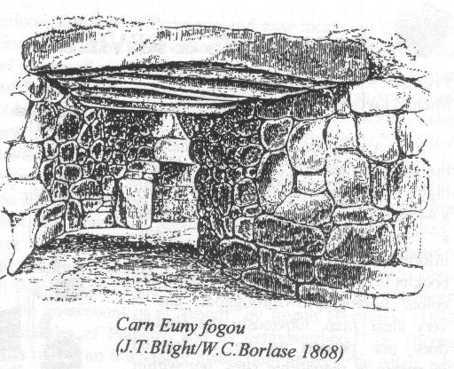 The Carn Euny Fogou from an 1869 drawing by J.T.Blight and W.C Borlase. Public Domain