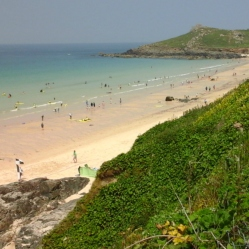 Porthmeor Beach from the clifftop road.