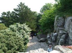 Granite cliffs along the route