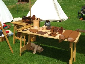 Leather items on display