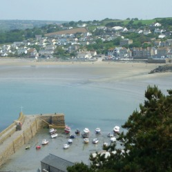 Looking down at the harbour with Marazion across the bay