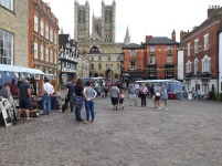 Market stalls outside castle gate