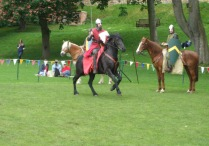 Mounted knights demonstrate their skills