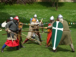 Attack and defence in a shield wall