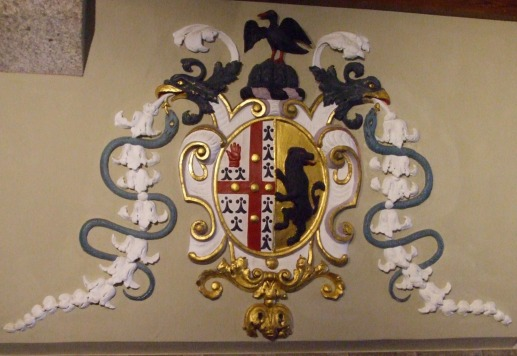 The St Aubyn coat of arms in the entrance hall