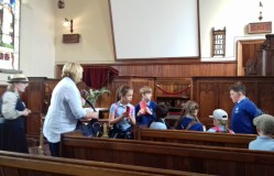 Another group of primary children preparing for a Sunday School lesson