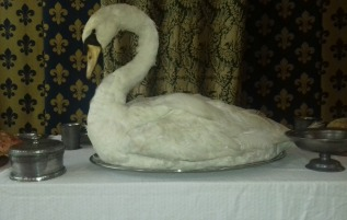 Decorative swan on the food table in the Great Hall