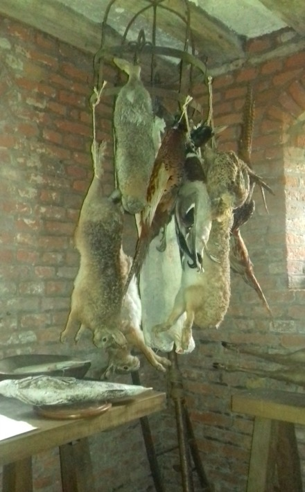 Hares hung before skinning and cooking