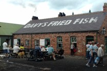 The fish and chips were made in the old way, using a coal- fired stove