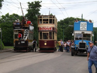 Two trams and an omnibus together