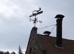 Wearher vane on waggonway roof