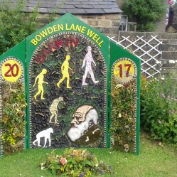 Charles Darwin well dressing showing evolution theory