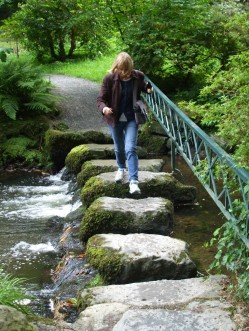 Me negotiating the stepping stones