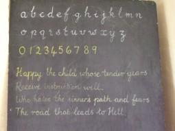 Handwriting on the school blackpoard