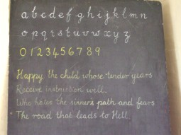 Handwriting on the school blackpoard
