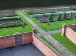View of the men's recreation yard, Paupers Walk and the gardens from the able bodied men's dormitory