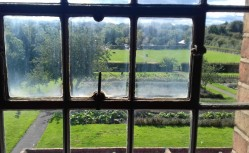 Looking through the window of the able bodied men's dormitory