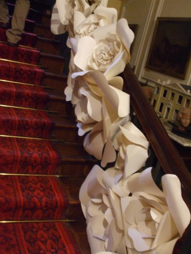Roses decorating the stairs