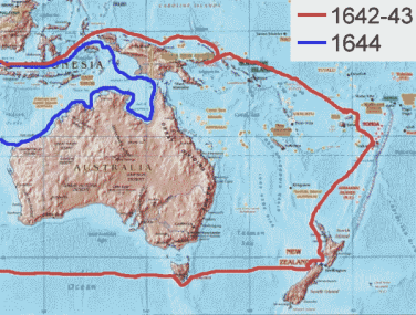 Routes of Abel Tasman. Map made by Andre Engels based on a work in Public Domain