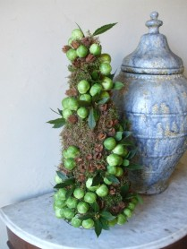 Mini Christmas tree decorated with Brussels sprouts entrance porch