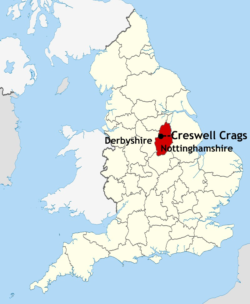 Location of Creswell Crags