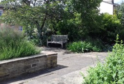 Community area on the site of the former Wash House and Bath House