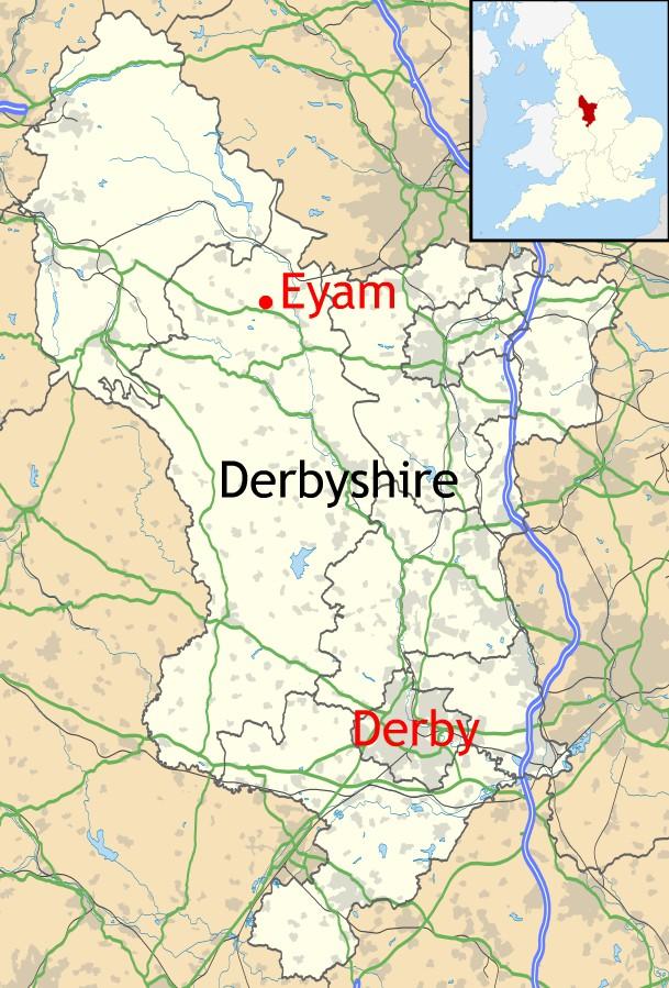 Location of Eyam in Derbyshire