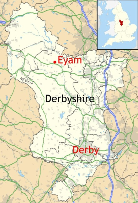 Location of Eyam in Derbyshire