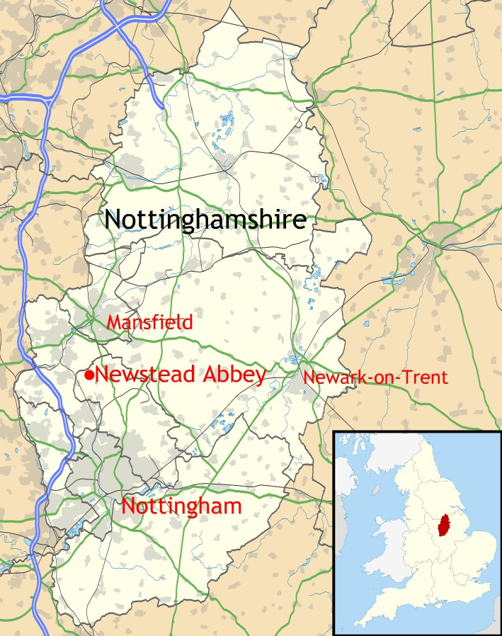 Location of Newstead Abbey within Nottinghamshire