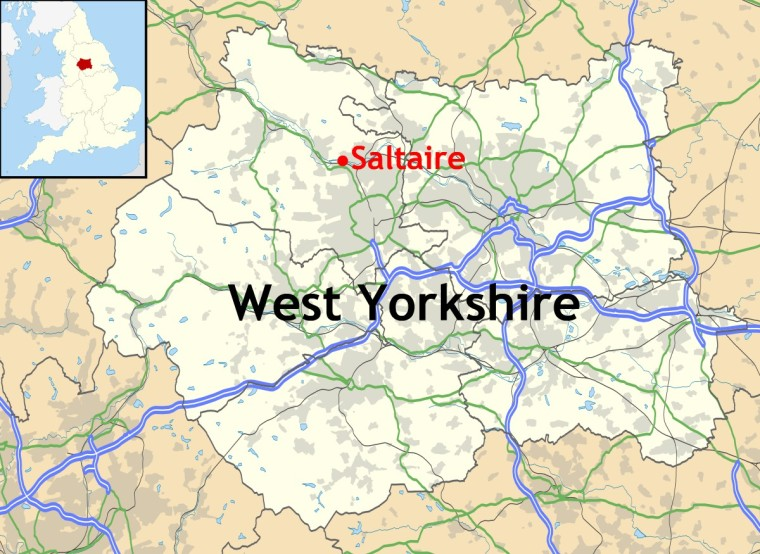 Location of Saltaire in West Yorkshire