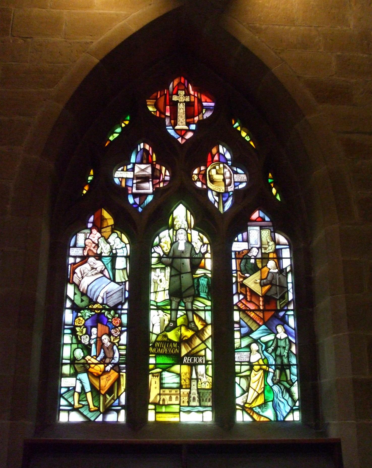 Plague window inside Eyam Church