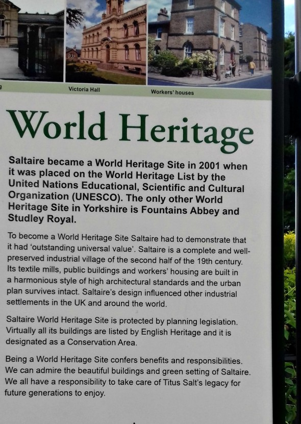 World Heritage status from a noticeboard in Saltaire