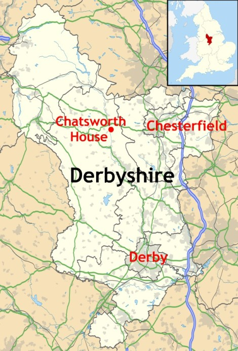 Location of Chatsworth House in Derbyshire