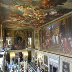 Looking down at the Painted Hall from the top of the main staircase