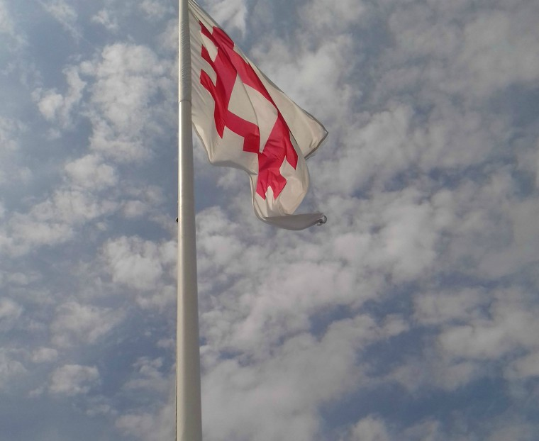 English Heritage flag atop the keep 3
