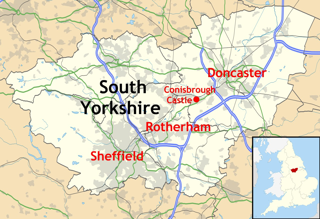 Location of Conisbrough Castle in South Yorkshire