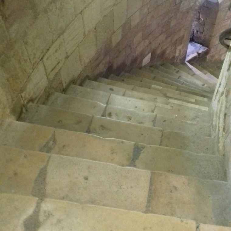 Steep stone steps in the keep