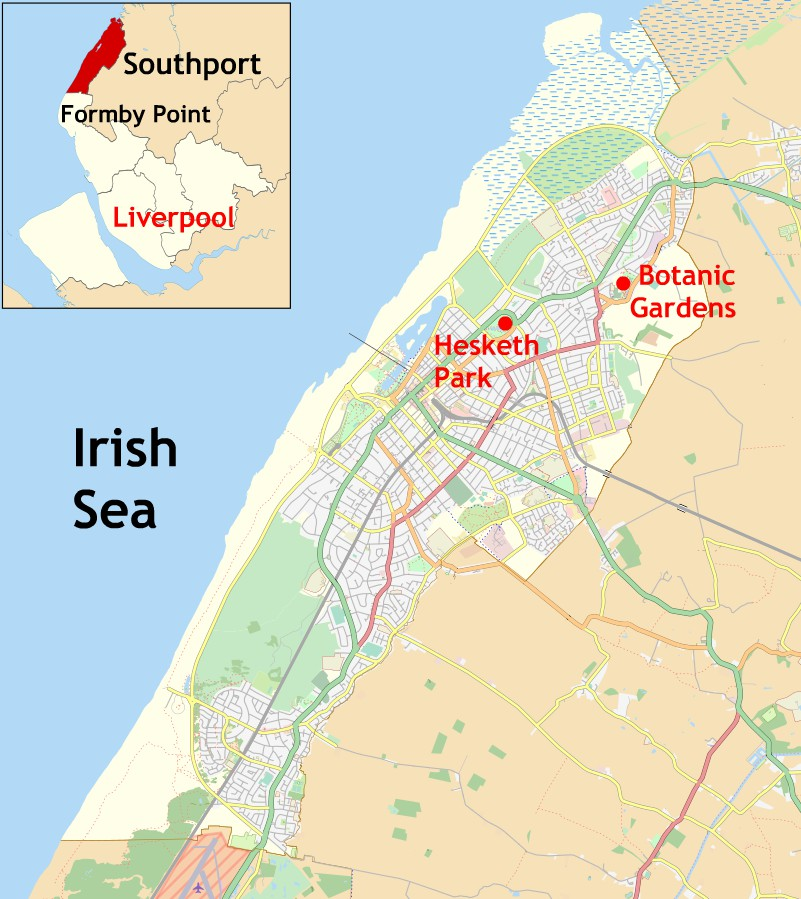 Locations of Hesketh Park and Botanic Gardens in Southport