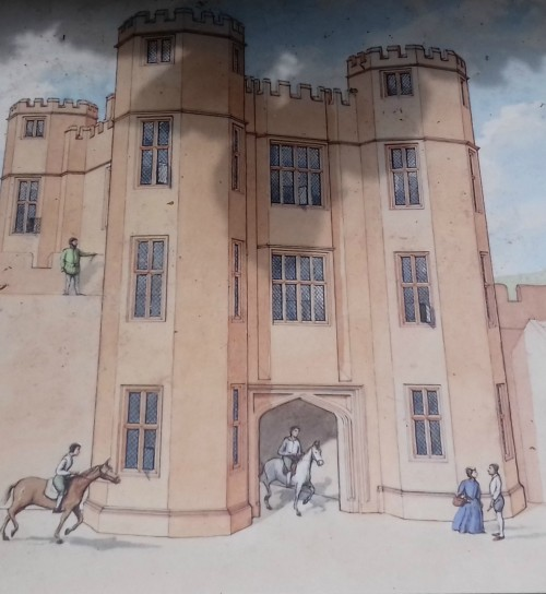 Reconstruction diagram of Leicester's Gatehouse in 1575 with outer cutatin wall linked to it